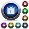Schedule info round glossy buttons - Schedule info icons in round glossy buttons with steel frames