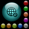 Online Ruble payment icons in color illuminated glass buttons - Online Ruble payment icons in color illuminated spherical glass buttons on black background. Can be used to black or dark templates