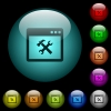 Application tools icons in color illuminated glass buttons - Application tools icons in color illuminated spherical glass buttons on black background. Can be used to black or dark templates