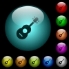 Acoustic guitar icons in color illuminated glass buttons - Acoustic guitar icons in color illuminated spherical glass buttons on black background. Can be used to black or dark templates