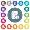 Database info flat white icons on round color backgrounds - Database info flat white icons on round color backgrounds. 17 background color variations are included.