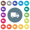 Delivery truck flat white icons on round color backgrounds - Delivery truck flat white icons on round color backgrounds. 17 background color variations are included.
