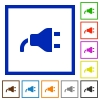 Power plug flat framed icons - Power plug flat color icons in square frames on white background