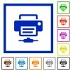 Network printer flat color icons in square frames on white background - Network printer flat framed icons