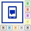 Mobile chat flat color icons in square frames on white background - Mobile chat flat framed icons