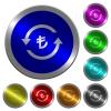 Turkish Lira pay back luminous coin-like round color buttons - Turkish Lira pay back icons on round luminous coin-like color steel buttons