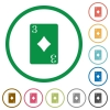 Three of diamonds card flat icons with outlines - Three of diamonds card flat color icons in round outlines on white background