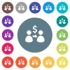Send dollars flat white icons on round color backgrounds - Send dollars flat white icons on round color backgrounds. 17 background color variations are included.