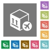 Air package transportation flat icons on simple color square backgrounds - Air package transportation square flat icons