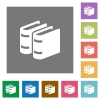 Two books flat icons on simple color square backgrounds - Two books square flat icons