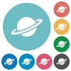 Planet flat round icons - Planet flat white icons on round color backgrounds
