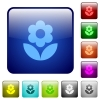 Flower icons in rounded square color glossy button set - Flower color square buttons