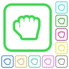 Grab cursor vivid colored flat icons in curved borders on white background - Grab cursor vivid colored flat icons