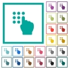 Typing security code flat color icons with quadrant frames - Typing security code flat color icons with quadrant frames on white background