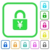 Locked Yens vivid colored flat icons - Locked Yens vivid colored flat icons in curved borders on white background