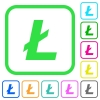 Litecoin digital cryptocurrency vivid colored flat icons - Litecoin digital cryptocurrency vivid colored flat icons in curved borders on white background