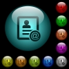 Contact email icons in color illuminated glass buttons - Contact email icons in color illuminated spherical glass buttons on black background. Can be used to black or dark templates