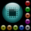 Computer processor icons in color illuminated glass buttons - Computer processor icons in color illuminated spherical glass buttons on black background. Can be used to black or dark templates
