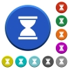 Hourglass beveled buttons - Hourglass round color beveled buttons with smooth surfaces and flat white icons