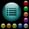 Unordered list icons in color illuminated glass buttons - Unordered list icons in color illuminated spherical glass buttons on black background. Can be used to black or dark templates