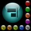 Align to right icons in color illuminated glass buttons - Align to right icons in color illuminated spherical glass buttons on black background. Can be used to black or dark templates