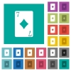 Seven of diamonds card square flat multi colored icons - Seven of diamonds card multi colored flat icons on plain square backgrounds. Included white and darker icon variations for hover or active effects.