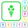 Ice cream vivid colored flat icons - Ice cream vivid colored flat icons in curved borders on white background