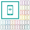 Cellphone with wireless network symbol flat color icons with quadrant frames - Cellphone with wireless network symbol flat color icons with quadrant frames on white background