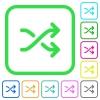 Media shuffle vivid colored flat icons - Media shuffle vivid colored flat icons in curved borders on white background
