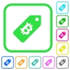 Bitcoin price label vivid colored flat icons - Bitcoin price label vivid colored flat icons in curved borders on white background