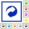 Eco packing symbol flat framed icons - Eco packing symbol flat color icons in square frames on white background