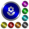 Flower icons on round luminous coin-like color steel buttons - Flower luminous coin-like round color buttons