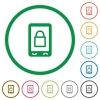 Lock mobile flat icons with outlines - Lock mobile flat color icons in round outlines on white background