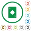 Four of spades card flat icons with outlines - Four of spades card flat color icons in round outlines on white background