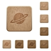 Planet wooden buttons - Planet on rounded square carved wooden button styles