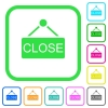 Close sign vivid colored flat icons - Close sign vivid colored flat icons in curved borders on white background
