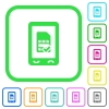 Mobile simcard accepted vivid colored flat icons - Mobile simcard accepted vivid colored flat icons in curved borders on white background