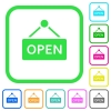 Open sign vivid colored flat icons - Open sign vivid colored flat icons in curved borders on white background