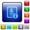 Contact information color square buttons - Contact information icons in rounded square color glossy button set