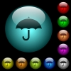 Umbrella icons in color illuminated glass buttons - Umbrella icons in color illuminated spherical glass buttons on black background. Can be used to black or dark templates