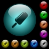 Ice lolly icons in color illuminated glass buttons - Ice lolly icons in color illuminated spherical glass buttons on black background. Can be used to black or dark templates