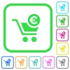 Checkout with Euro cart vivid colored flat icons - Checkout with Euro cart vivid colored flat icons in curved borders on white background