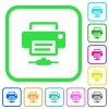 Network printer vivid colored flat icons - Network printer vivid colored flat icons in curved borders on white background