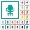Office chair flat color icons with quadrant frames - Office chair flat color icons with quadrant frames on white background