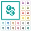 Pound Euro money exchange flat color icons with quadrant frames - Pound Euro money exchange flat color icons with quadrant frames on white background