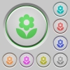 Flower color icons on sunk push buttons - Flower push buttons