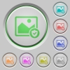 Protected image push buttons - Protected image color icons on sunk push buttons
