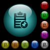 Note pin icons in color illuminated glass buttons - Note pin icons in color illuminated spherical glass buttons on black background. Can be used to black or dark templates