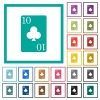 Ten of clubs card flat color icons with quadrant frames - Ten of clubs card flat color icons with quadrant frames on white background
