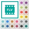 FLV movie format flat color icons with quadrant frames on white background - FLV movie format flat color icons with quadrant frames